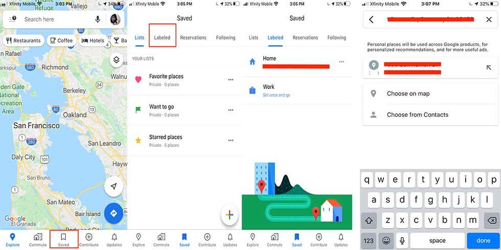 نحوه ذخیره کردن آدرس خانه و محل کار در گوگل مپ1