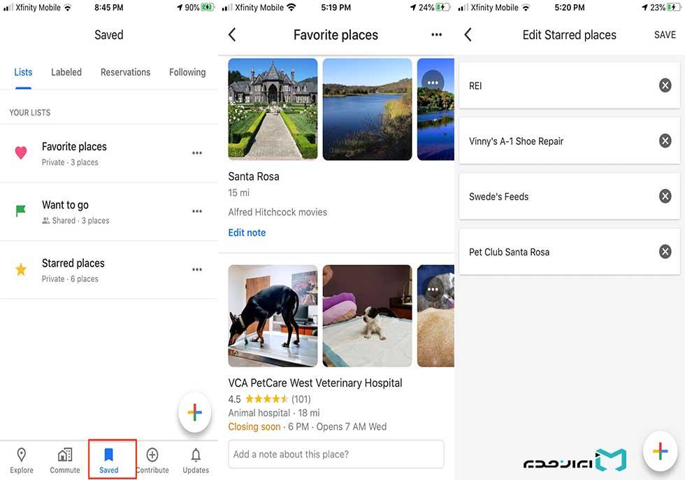 نحوه استفاده از برگه ذخیرهشده نقشه گوگل مپ