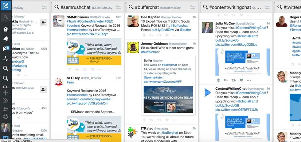ابزارهای بازاریابی محتوا : Tweetdeck